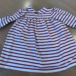 Busy Bees red and white striped cotton dress.